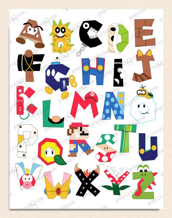 TINTA de impresión de Super Mario Bros alfabeto cartel pared Art - 8 x 10 16x20 - bricolaje Digital imprimible PDF