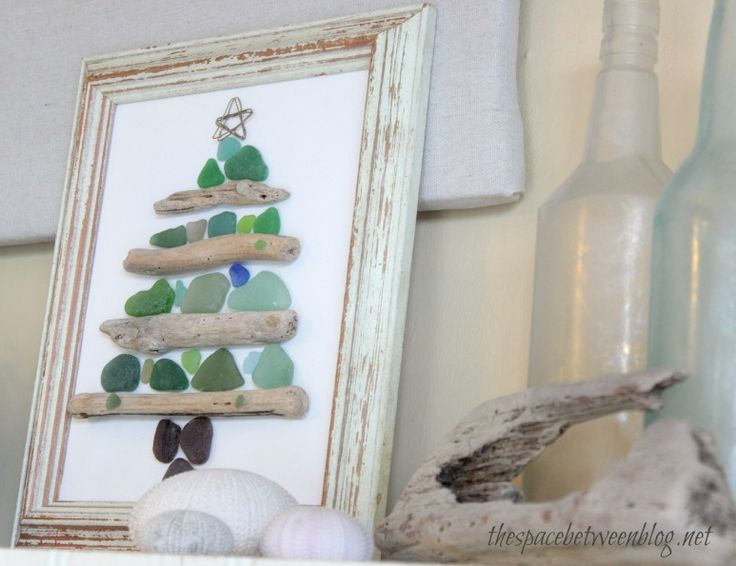sea glass and driftwood tree