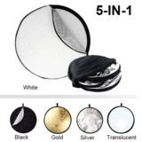5-in-1 Collapsible Reflectors is the ideal solution for light control in your photos and videos. With a simple flip of the sleeve, the reflector can be used as a warm gold tone reflector, a soft silver reflector, a neutral white bounce, or a solid black flag.