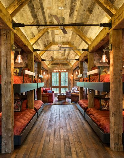 Northern Wisconsin bunk house. Builder: John Kraemer & Sons. TEA2 Architects. Interiors by Marcia Morine. Landmark Photography.