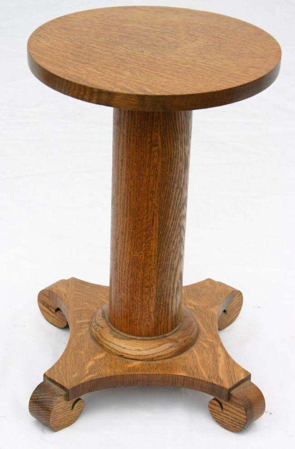 antique oak pedestal plant stand