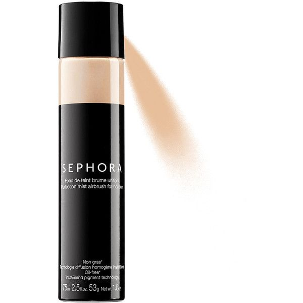 Perfection Mist Airbrush Foundation SEPHORA COLLECTION ($19) ❤ liked on Polyvore featuring beauty products, makeup, face makeup, foundation, glossier foundation, sephora collection and spray foundation