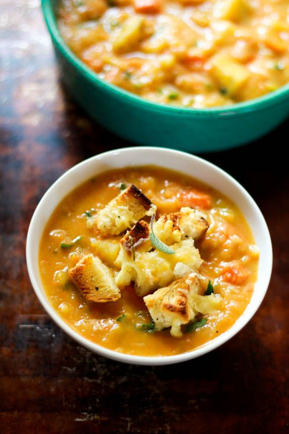 Chunky root vegetable soup with gruyère + herb croutons.