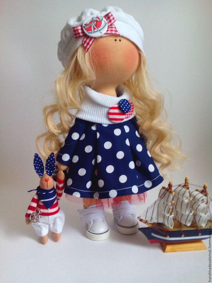 Купить Морячка и моряк - тёмно-синий, кукла, кукла тыквоголовка, морячка, морячок, морской стиль
