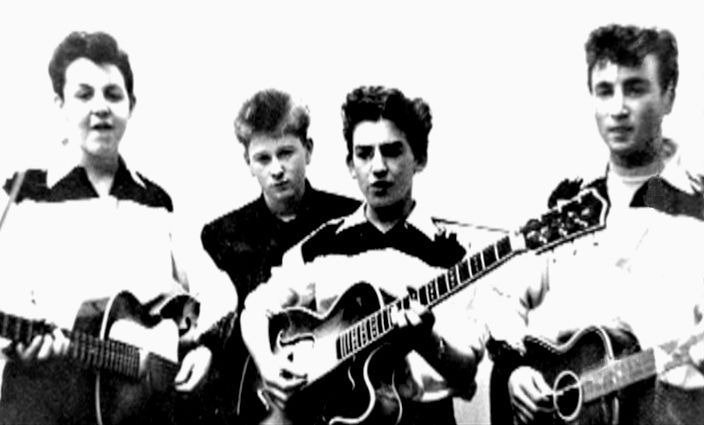 """Paul, Duff, George & John. 1958 or 1959. """"From Quarrymen To Moondogs"""", Davies writes, """"For their public performances, they were usually all dressed like Teddy-boy cowboys, with black-and-white cowboy shirts with white tassels from the top pockets and bootlace ties."""""""