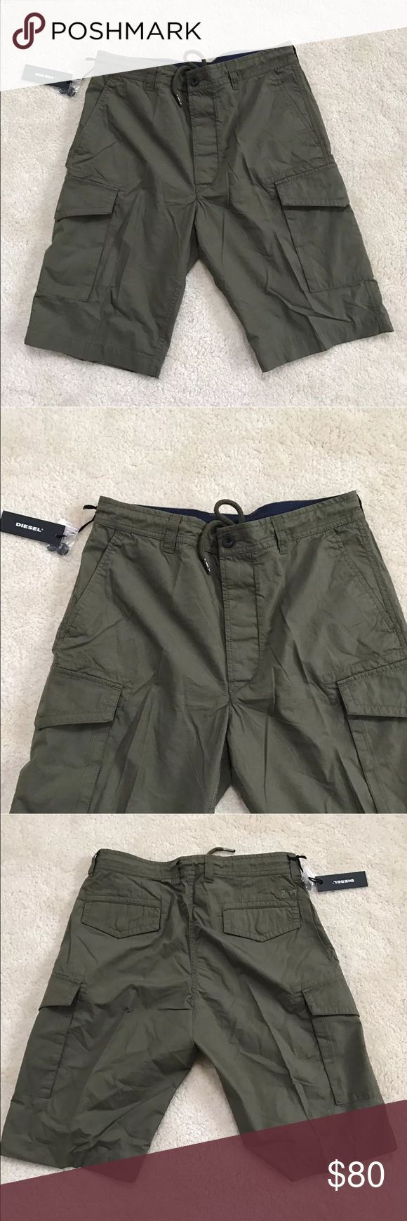 DIESEL MEN'S JEANS SHORTS MILITARY/GREEN SIZE 29 DIESEL MEN'S JEANS COOPER CASUAL SHORTS MILITARY/GREEN  SIZE 29 Style: P-COOPER SHORTS Color: Military Green  All brand new with tags and 100% authentic. Diesel Shorts Cargo