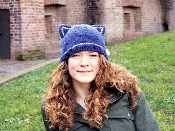 Blue Knit  Beanie  Cat Ears  Handmade Women's by MissMinoes, €25.00