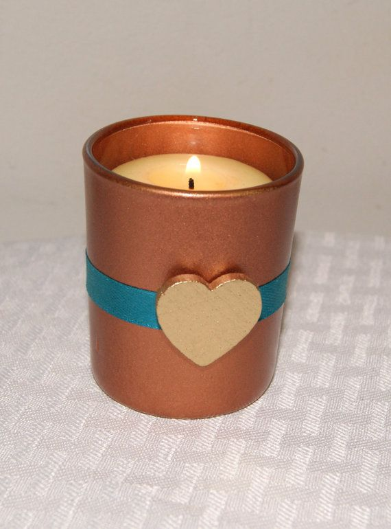 Copper And Teal Wedding Decor / Wedding Candle / Votive Candle Holder / Teal  Wedding / Metallic Copper Wedding Decoration / Gold Heart / 6