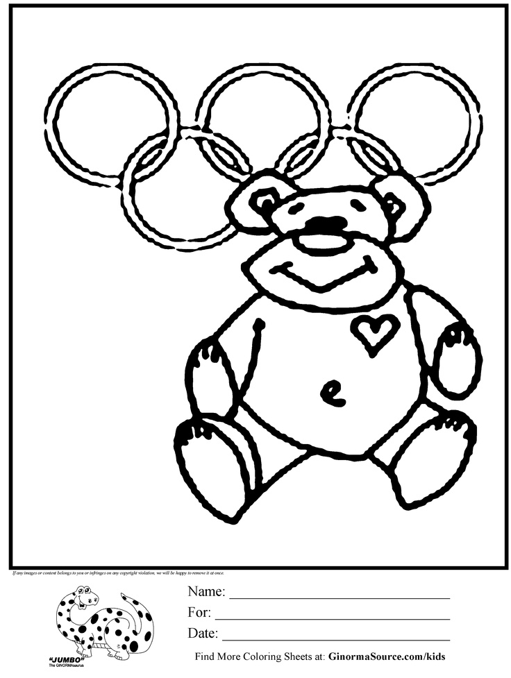 Teddy Bear Coloring Page Olympics Is A Cute That Ready To Help Cheer For Your Country As They Compete