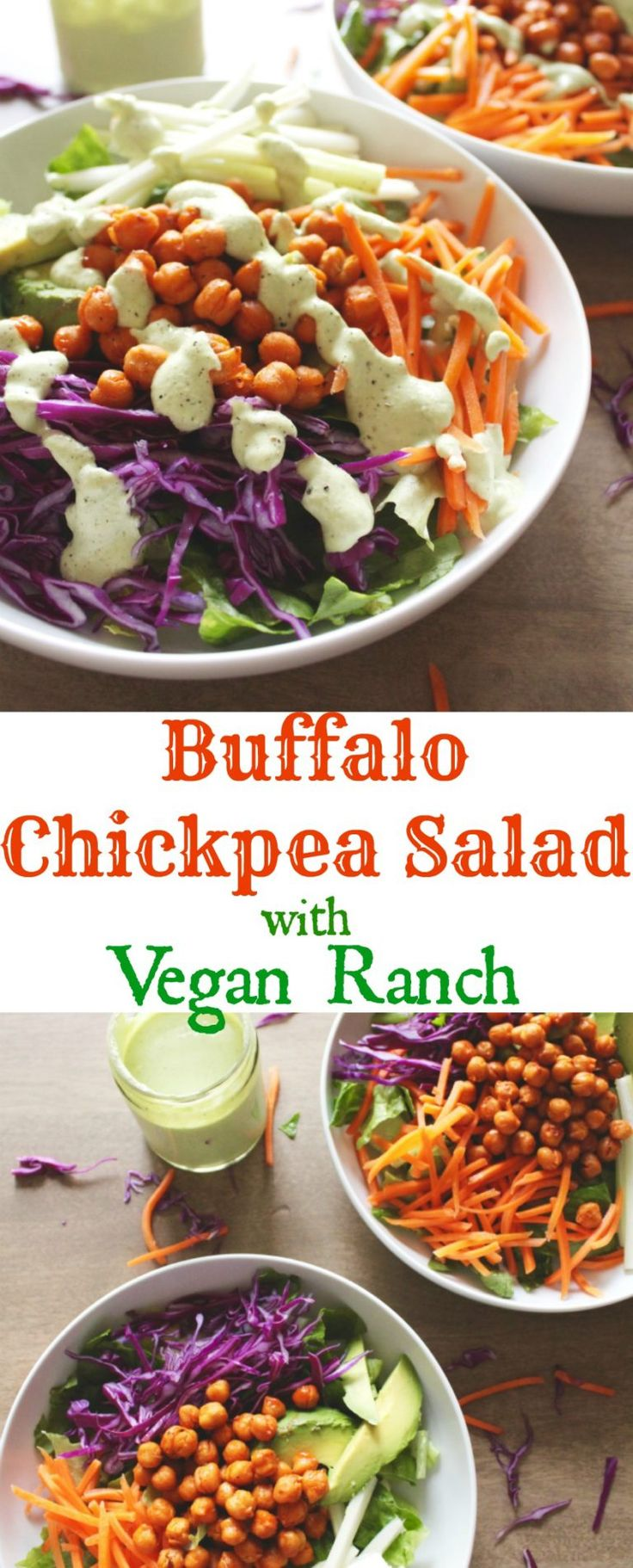 Buffalo Chickpea Salad with Vegan Ranch Dressing-love this recipe!