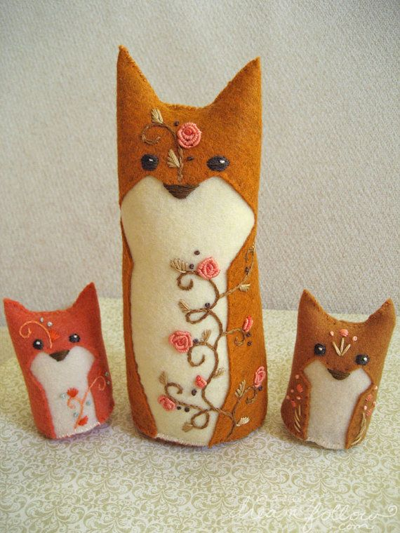 Copper One of a Kind embroidered Fox Plush by littledear on Etsy, $23.00