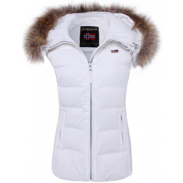 Women's Napapijri Fur Trim Gilet ($425) ❤ liked on Polyvore
