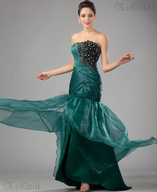 Meerjungfrau trägerlos Tüll Sweep Zug Reißverschluss formelles Abendkleid - Bild…