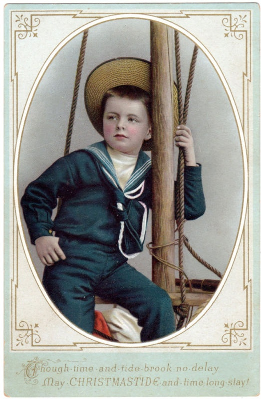 Victorian Chistmas Postcard of Boy in Sailor Suit