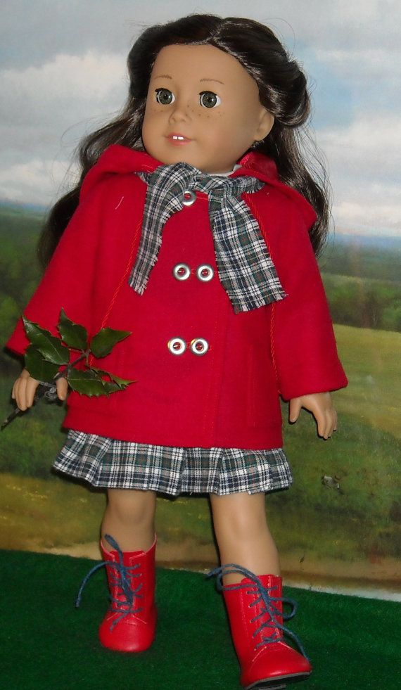 Red Wool Duffle Coat, Tee, Pleated Skirt and Scarf  Outfit for Contemporary 18 inch Dolls on Etsy, $75.00