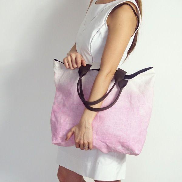 Leinen Tragetasche in Batik Muster Shopper  von Mikanu auf DaWanda.com