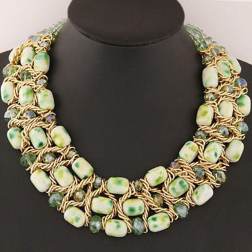 Заявление ожерелья ручной работы старинных большой кристалл ожерелья и подвески ювелирные изделия ожерелья женщины аксессуары с короткой цепью ожерелье купить на AliExpress