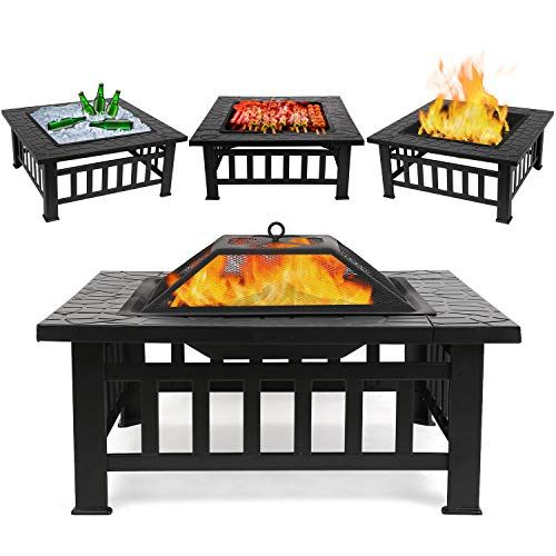 Fixkit Fire Pit Table Outdoor With Bbq Grill Shelf Multi Https Www Amazon Com Dp B07gfcg6k6 Ref Cm Sw R Pi Fire Pit Grill Fire Pit Patio Outdoor Fire Pit