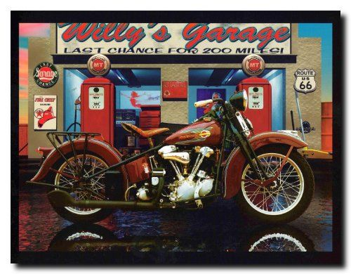 Simply outstanding! This beautiful wall poster is sure to add a unique character to your room setting and goes with all décor style. This poster captures the image of Harley Davidson Willy's Garage vintage motorcycle which will definitely brighten up your home and catch every eye towards it. So why wait, grab this wonderful wall poster for its perfect quality and amazing color accuracy.