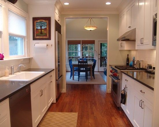 78 ideas about small galley kitchens on pinterest for Two way galley kitchen designs