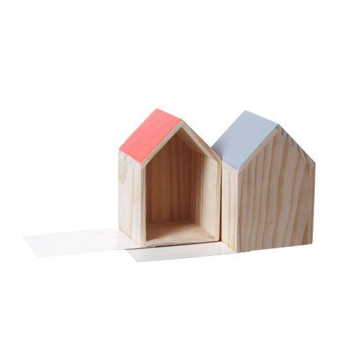 Serre-livres maison en bois (set de 2) Living Kitchen
