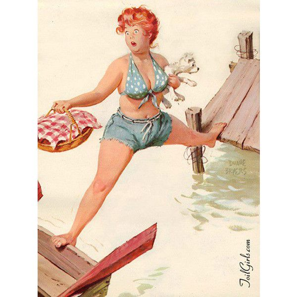10+ Sexy Illustrations Of Hilda The Forgotten Plus-Size Pin-Up Girl... ❤ liked on Polyvore featuring backgrounds