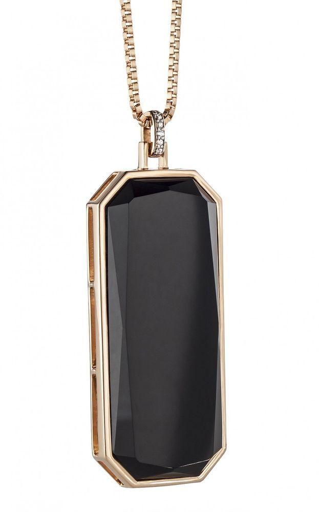 cai Halskette 925 Silber Collier rose vergoldet Anhänger Onyx schwarz Stein