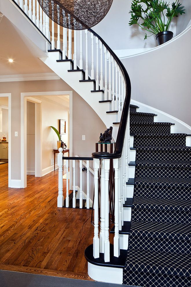 Beautiful Carpet Runners For Stairs technique Toronto Contemporary Staircase Innovative Designs with baseboards black treads curved staircase landing runner spindle banister white trim white wood wood