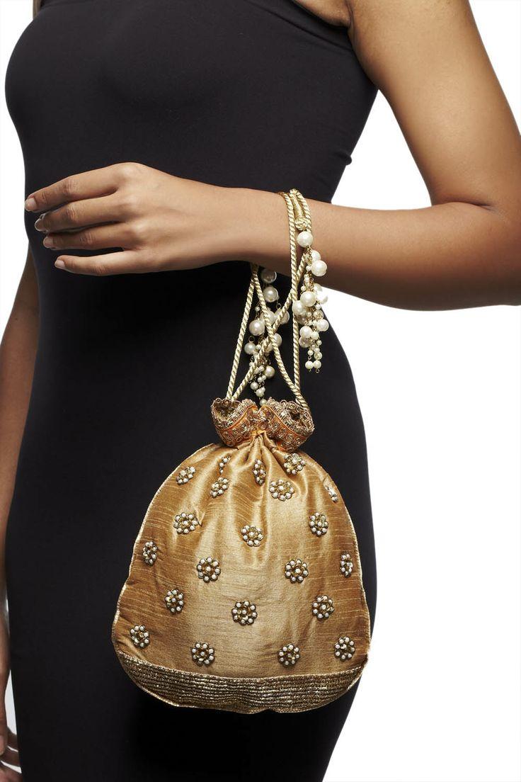 Gold raw silk batwa with pearl motifs, by Chamee & Palak. #studiorudraksh.com   #chamee & palak