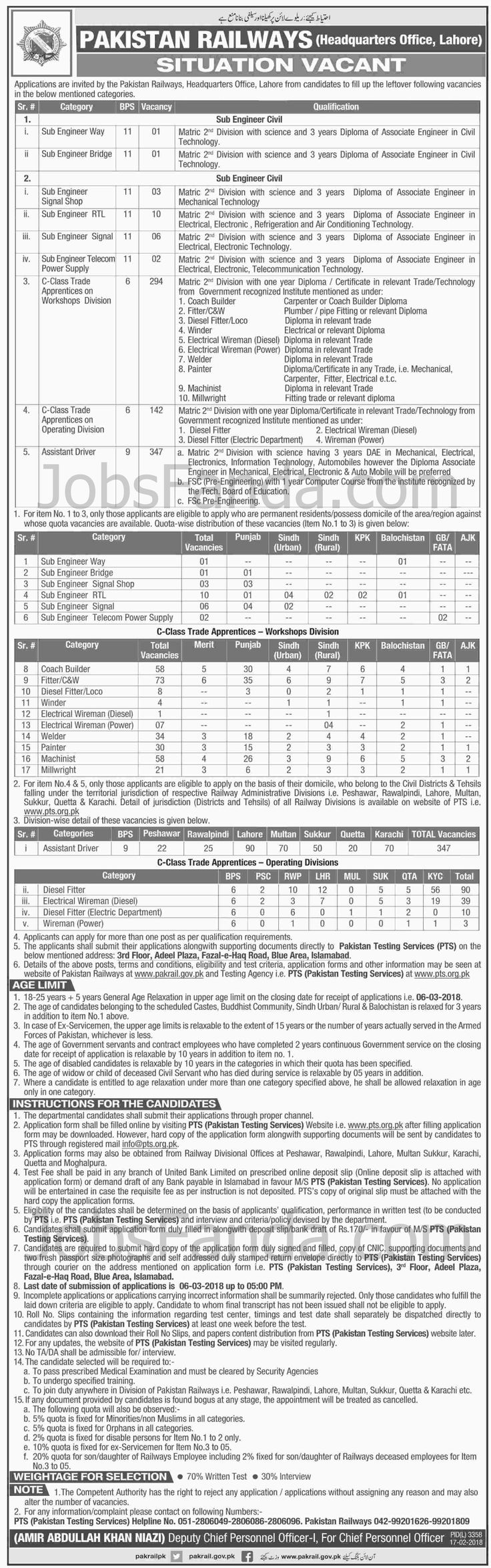 Pakistan Railways PTS Jobs 2018 For Drivers And Engineers https://www.jobsfanda.com/pakistan-railways-pts-jobs-2018-for-drivers-and-engineers/