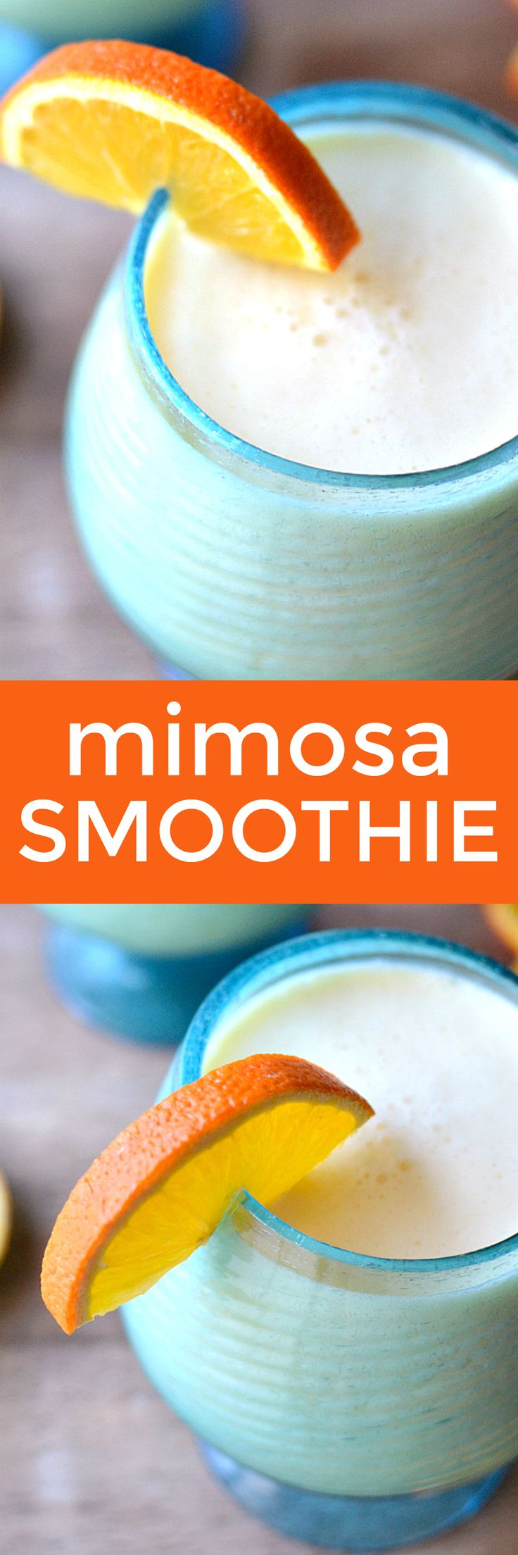 This Mimosa Smoothie combines the delicious flavors of your favorite breakfast drink with creamy vanilla yogurt in an amazing smoothie that's fit for a celebration!