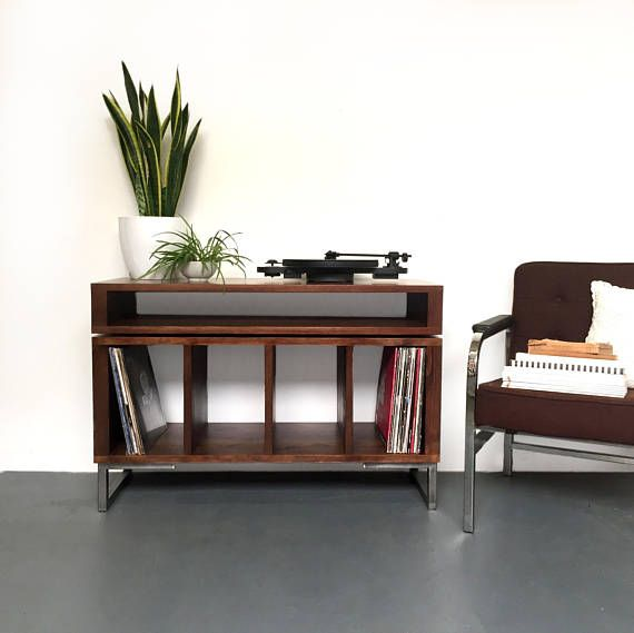 Condor Stacked Media Console, Vinyl Record Storage, Solid Wood on Minimalist Metal Legs