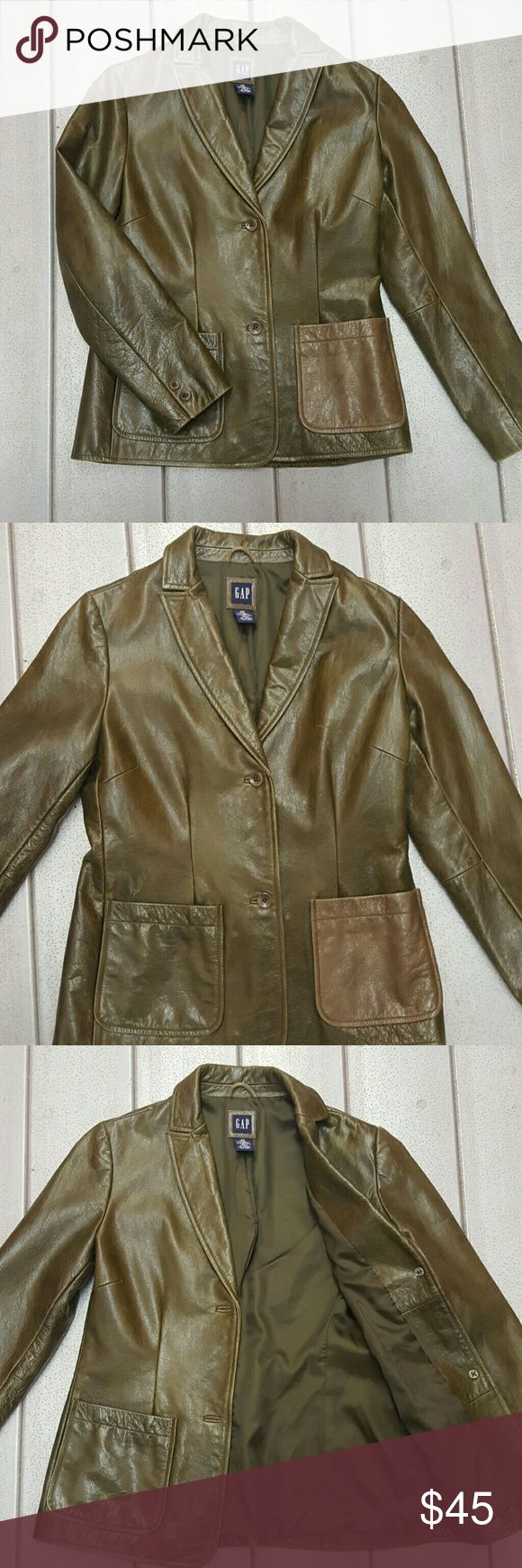 Vintage Style Olive Green, Leather, GAP Jacket XS Vintage Style Olive Green, Leather, GAP Jacket Size XS  Measurements: Armpit to armpit 18 inch across Shoulder to cuff 23 inches Top to bottom 24 inches GAP Jackets & Coats Blazers