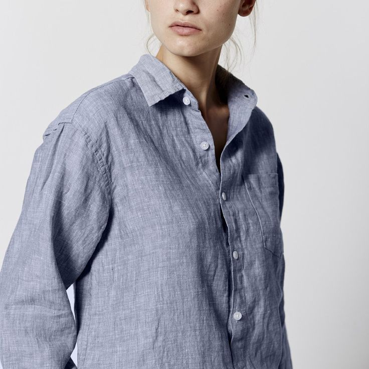 100% Linen Shirt in Blue (unisex)   IN BED Store