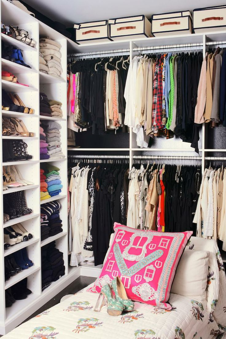 Small and efficient this custom closet  has lot of style and fun color.