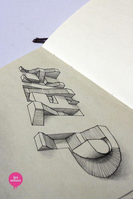 Moleskine illustration #23: Help. (typography) by Lex Wilson, via Flickr