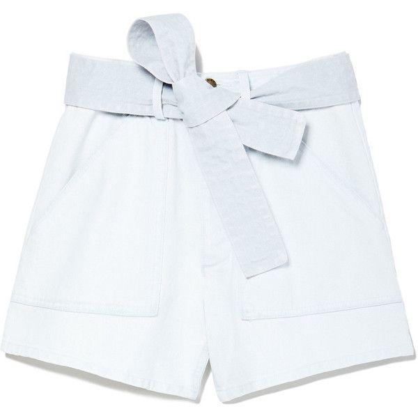 Merida High-Waisted Denim Shorts ❤ liked on Polyvore featuring shorts, high-waisted denim shorts, high-waisted cut-off shorts, dress shorts, high-waisted shorts and high rise jean shorts