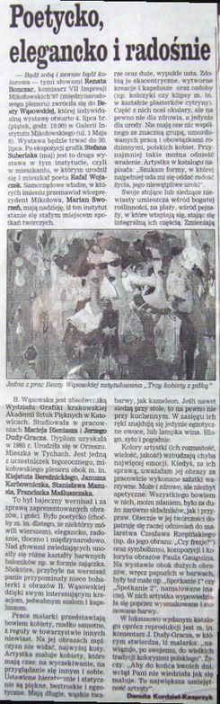 Poetycko, elegancko, radośnie, Dziennik Zachodni [Tyski]   1997   Danuta Kurdziel-Kasprzyk   malarstwo Beaty Wąsowskiej