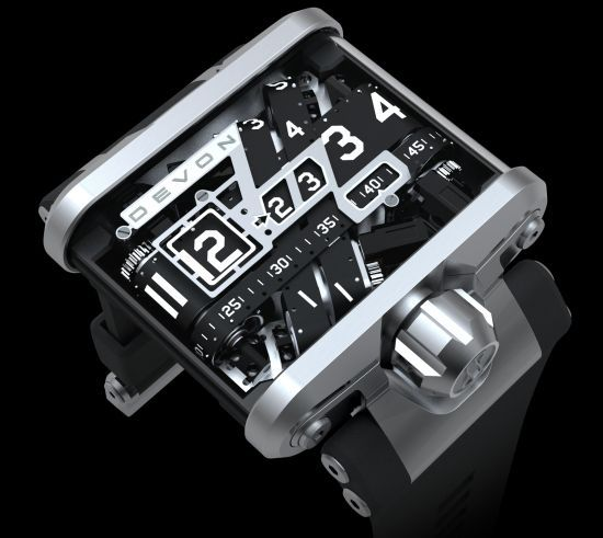 """I WANT ONE!!!!  Developed in collaboration with a Californian aerospace engineering company, the """"Tread 1"""" from Devon Works is a bulletproof wristwatch that creates a splendid work of art as the numbers move with precision across a belt, giving an altogether new dimension to the mundane task of checking the time"""