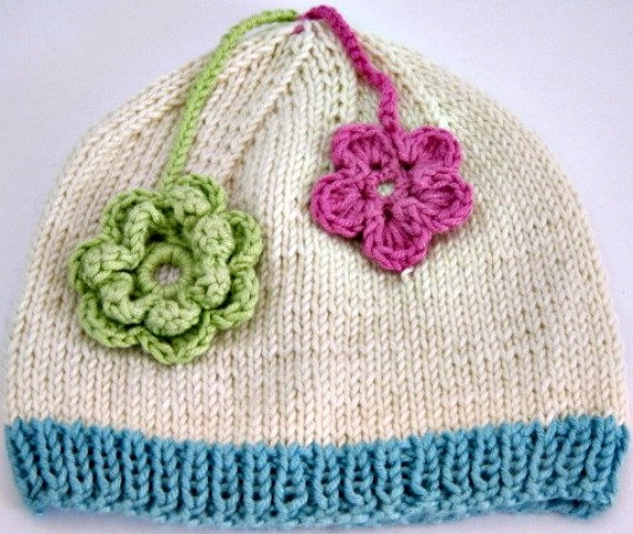 Beanie for 6-9mth Cream with Blue edge and Pink & Green Flowers. CHF25.00, via Etsy.