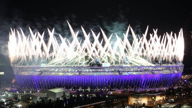 Fireworks at the Olympic stadium - July 27, 2012. - London England.