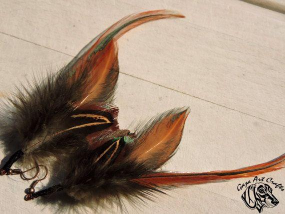 Rusty angel wings feather earrings, Boho and Hippie feather earrings, Natural feather earring, Brown dangle earrings Bohemian style earrings