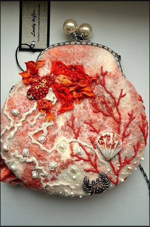 Coral Motif Felted Handbag.