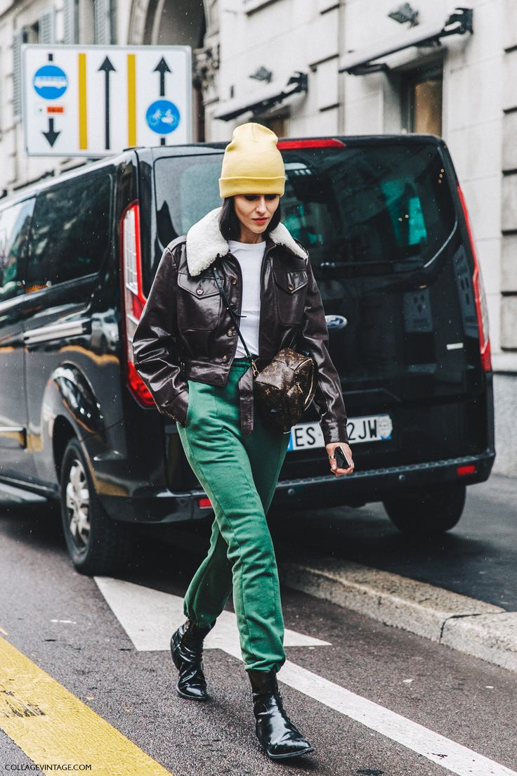 Milan_Fashion_Week_Fall_16-MFW-Street_Style-Collage_Vintage-Gilda_Ambrossio-Yellow_Beanie-Shearling_Jacket-Green-