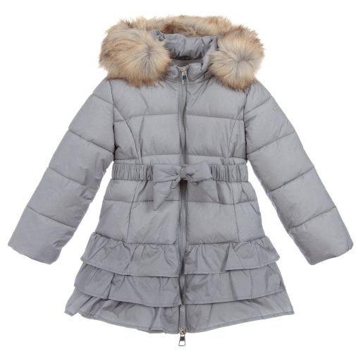 102bbfe2e iDO Baby-Girls Grey Padded Puffer Coat