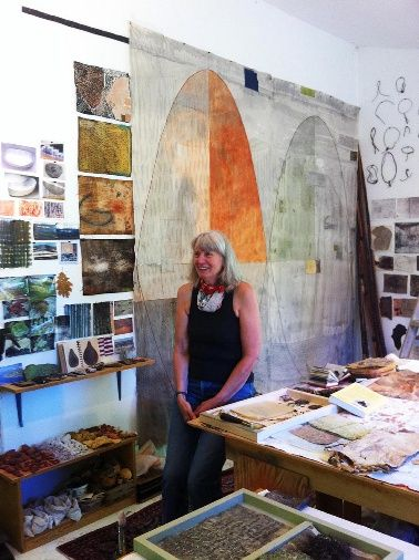 Dorothy Caldwell in her studio
