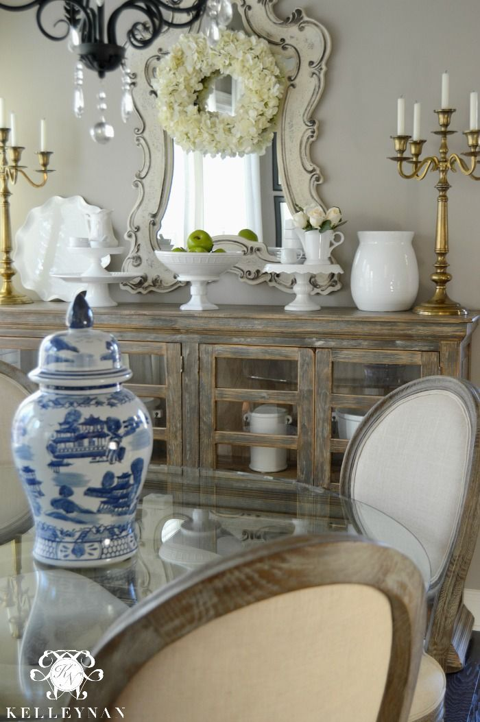 Blue and White Ginger Jar in Breakfast Nook Shabby Chic