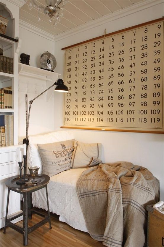 cozy corner with paneled walls and ceilings. Number chart. Black reading lamp. Burlap & feedsack pillows. So cozy I'm in love!