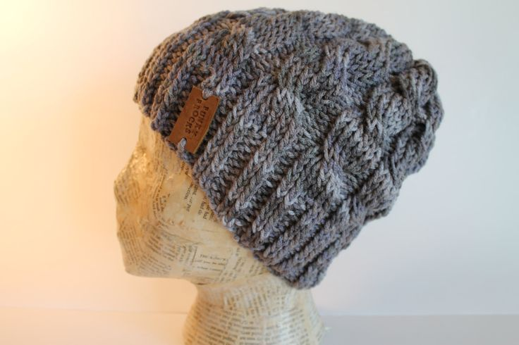 Grey Gray Marbled Cable Knit Slouchy Beanie Hat by FunkieFrocks on Etsy