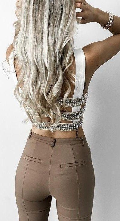 #goddess #kleopatra #eboutique #outfits | Caged Back Top + Camel Pants